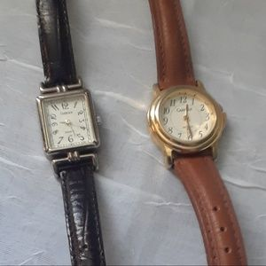 Pair of Leather band Timex watches